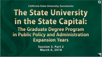 The Graduate Degree Program in Public Policy and Administration - Part II